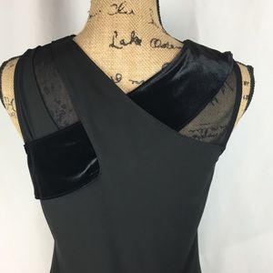 INC Black V-neck Cross Top w/Velvet Accent sz M